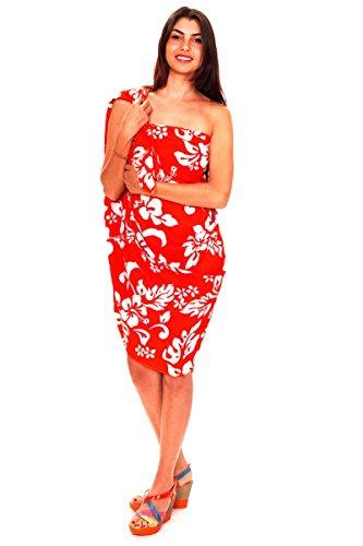 Funky Hawaii Sarong   Pareo Cover-Up   Einheitsgröße   Damen   Hibiskus Blumen Blätter   Multiple Farben Orange
