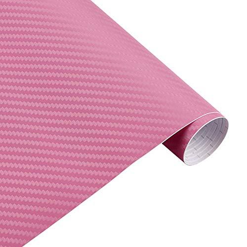 YUnnuopromi 200x50cm 3D Kohlefaser-Car-Styling ändern Farbe innen Dekor Film Aufkleber Pink