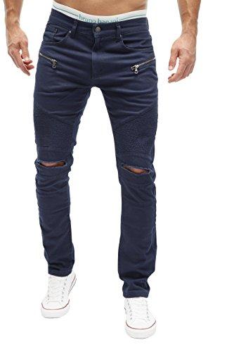 MERISH Herren Bikerjeans Jeanshose Denim Chino DestroyedTrend Usedlook Jeans Hose Neu J67 Blau W32