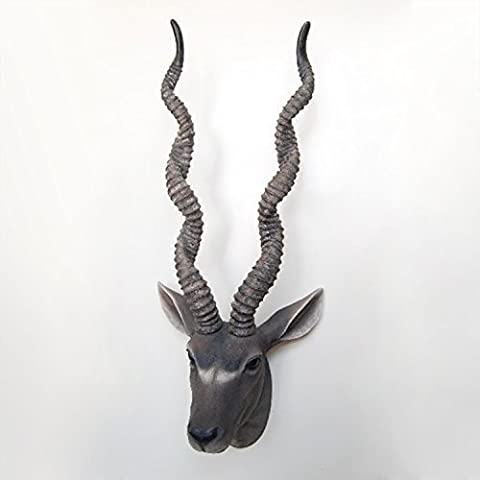 Wall Decorations 34x28x88 cm Antelope Head Animal Wall Hanger Art Decals Home Decoration Living Bedroom Office Décor DIY, Grey