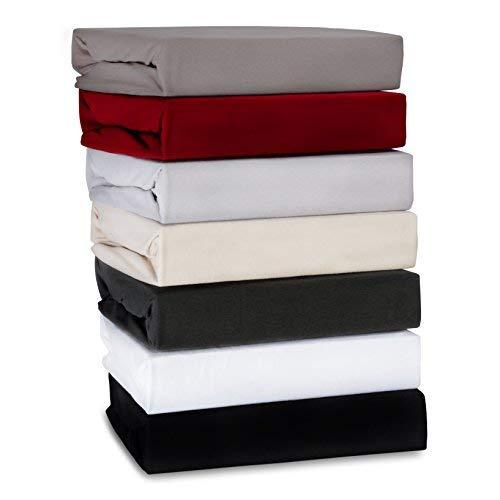 ka-line LUXUS Spannbettlaken 180x200 180x220 200x200 200x220 aus Baumwolle für Boxspringbett und Wasserbett in der Farbe GRAU Spannbetttuch mit 190g/m² Steghöhe 40 cm Bettlaken 180x200