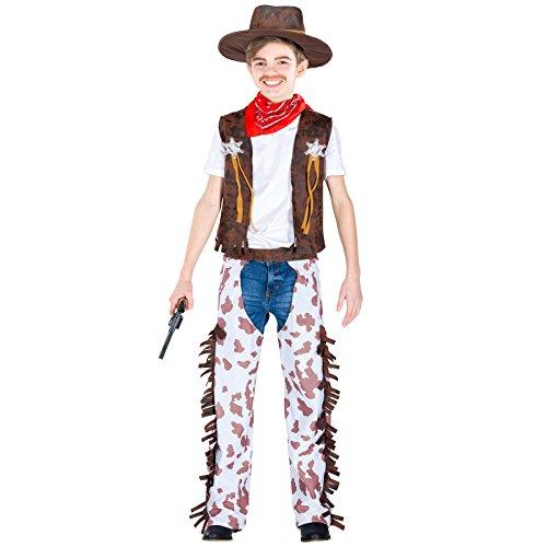 Herren Kostüm Zombie Sheriff - TecTake dressforfun Jungenkostüm Kleiner Sheriff | Weste in Kunstlederoptik mit 2 Sheriff Sterne auf der Weste | inkl. Rotes Halstuch & Hut (3-5 Jahre | Nr. 300590)