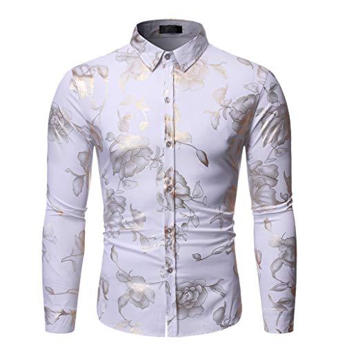 Setsail Herren Fashion Schlankes Hemd Persönlichkeit Heißprägen Langarm-Shirt Lässiges gedruckt Bequemes Einfach Joker Oberteile Geeignet für Indoor- und Outdoor-Aktivitäten -