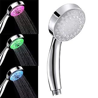Alcachofa de Ducha 7 Colores LED Cambia Automáticamente Cabezal de Ducha de Alta Presión con Control de Temperatura del Agua con Tecnología de Boquilla de Presión-Impulso – Uverbon