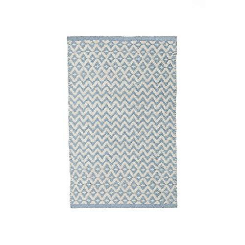 Alfombra pie de Cama de algodón Natural Azul Infantil para Dormitorio de 50 x 80 cm Child - LOLAhome...