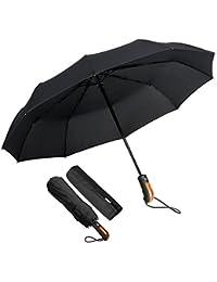 KASTEWILL Parapluie Pliant, Parapluie Pliable Noir Automatique Ouverture et Fermeture Résistant à Tempête Compact Léger Parapluie de Voyage pour Homme et Femme