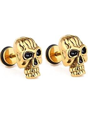 ein paar klassische Totenkopf Ohrstecker Schädel Skull Ohrringe silber gold schwarz, Punk Rock Stil Ohrhänger...