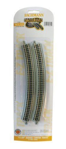 'Bachmann Industries 15,50Radius Curved Track (6/Card) Snap Fit e-z Track, N Scale by Bachmann Industries Inc. (English Manual)