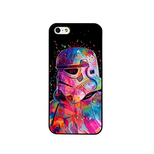 Star Wars Movie film Stormtrooper Vader Empire Force Yoda Phone Case Cover with Screen Protector & Cloth For iPhone 5 5S & SE - in BLACK