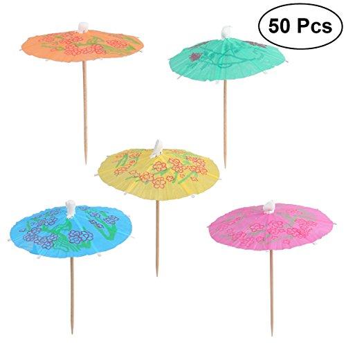 LUOEM 50 STÜCKE Sonnenschirm Cocktail Picks Regenschirme Kuchen Cupcake Toppers Papier Sonnenschirm Picks für Hawaii Luau Party Pool Party Geburtstag (Mischfarbe)