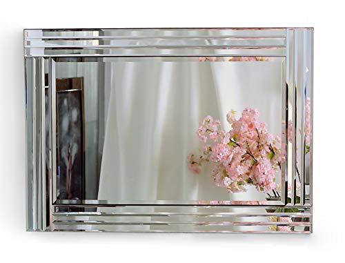Espejo de pared triple biselado con bordes rectangulares, gran espejo de pared plateado para salón o pasillo (90 x 60 cm)