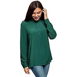 oodji Collection Mujer Blusa de Viscosa de Silueta en A, Verde, ES 44 / XL