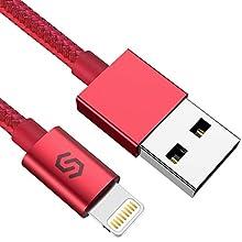 Syncwire Câble iPhone Rouge - [MFi Certifié] Chargeur iPhone en Nylon Tressé pour iPhone 11 Pro Max/11 Pro/11/XS Max/XS/XR/X/8/8 Plus/7/7 Plus/6S/6S Plus/6/6 Plus/SE/5C/5S/5, iPad etc - 1M