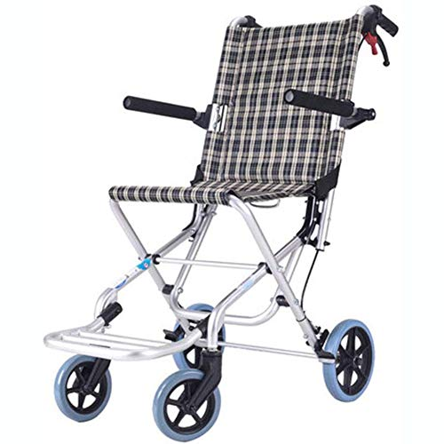 XBCOOK Faltrollstuhl, Aluminium Reise Rollstuhl Kleiner Reiserollstuhl ultraleichtes Kleine Räder Mobilitätsgerät Rollator mit Fußstützen hochklappbaren Armlehnen und Sicherheitsgurt