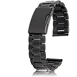 20mm Stainless Steel Solid Links Bracelet Watch Band Strap (Black)