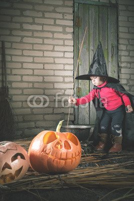 druck-shop24 Wunschmotiv: Little witch making a magic potion at Halloween night. Horror. #122803496 - Bild als Foto-Poster - 3:2-60 x 40 cm/40 x 60 cm
