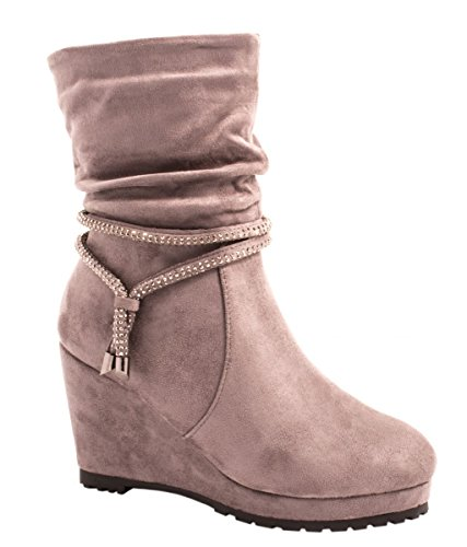Elara Damen Plateau Stiefelette | Keilabsatz Boots | Bequeme Strass Stiefel Grau