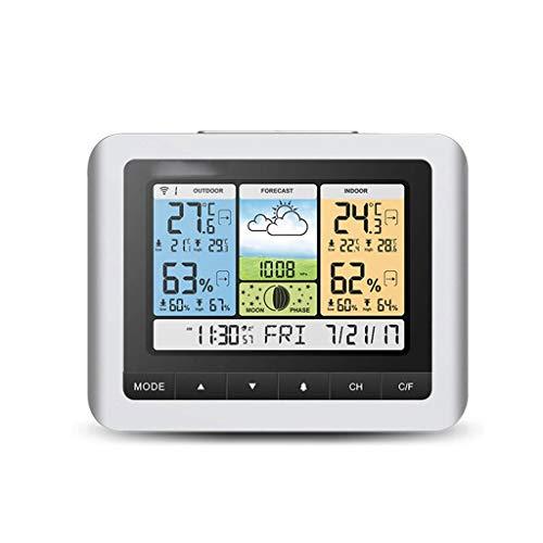 King Boutiques Weather Clock Wireless Home Thermometer Luftfeuchtigkeitsmessgerät USB Outdoor Forecast Sensor Clock Digitale Wetterstation Weiße Farbe Haushaltsgegenstände