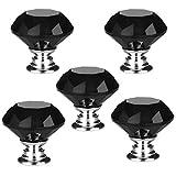 5 PCS 30mm Schwarz Kristallglas Diamant Form Türknauf /MöbelKnopf /Möbelgriffe für Küche Schränke, Kleiderschrank, Kommode, Schublade,Schranktür Schlafzimmer und Badezimmer KinderZimmer Dekor etc.