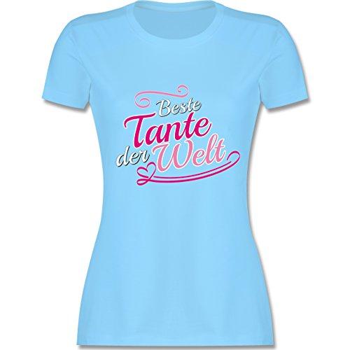 Schwester & Tante - Beste Tante der Welt - tailliertes Premium T-Shirt mit Rundhalsausschnitt für Damen Hellblau