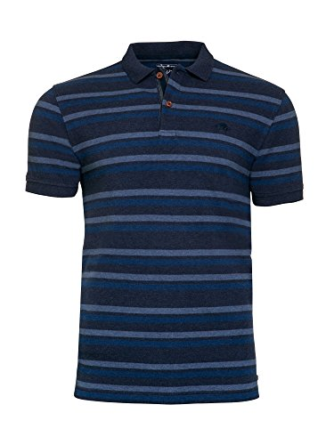 Raging Bull Herren Indigo Stripe Pique Polo Shirt S blau -