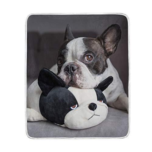 vinlin Decke mit französischer Bulldogge, Samt, weich, warm, leicht, für Wohnzimmer, Outdoor, Reisen, 127 x 152 cm - Französisch-kunst-malerei
