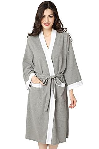 Aibrou femme homme Kimono Tissage Gaufré Peignoir de Bain Unisexe 100% Coton Waffle Robe de Chambre col V Pyjama Pour l'hôtel Spa Sauna Vêtements de nuit