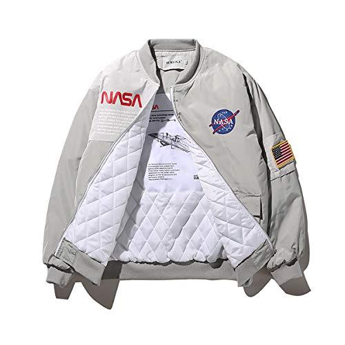 W&TT Männer NASA MA-1 Bomberjacke Flug wasserdichte Windjacke Stickerei Patches Lose Baseballuniform,GrayThick,M