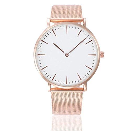 Sunnywill Women's men's Wrist watch Steel Armband Quartz Casual Uhren (A)