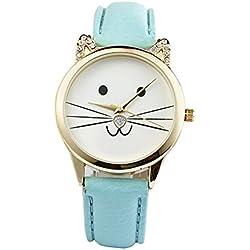 Gatos cara Reloj de pulsera - SODIAL(R)Damas diamante precioso gatos cara cuero de imitacion reloj de cuarzo Lago azul