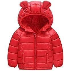 Bébé Blouson à Capuche Bébé Doudoune Matelassée Veste à Manches Longues Ski Vêtement 12-18 Mois