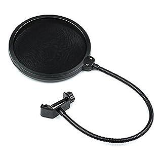 AIBULO Doppelschicht-Schallschutzmaske für Studio-Mikrofon, Windschutzscheibe, Popfilter, Schwarz