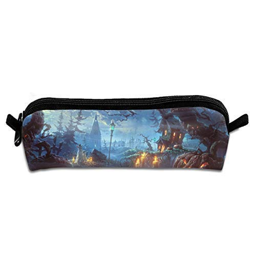 Halloween Themed Wallpaper Pen Pencil Stationery Bag Makeup Case Travel Cosmetic Brush Accessories