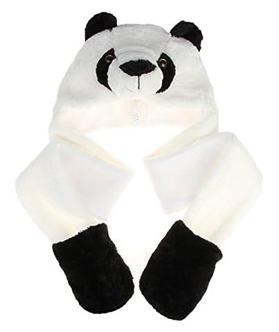 MARRYME Adulte Enfant Peluche Bonnet Hat Echarpe Chale Earflap Gloves Gant Cagoule Automne Hiver Chapka Ski Animaux Déguisement (Panda)