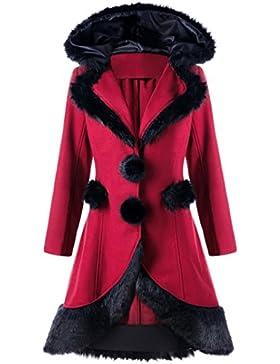 Internert Chaqueta de abrigo delgada mujer Chaqueta con capucha de costura de cuello de piel grande Abrigo de...