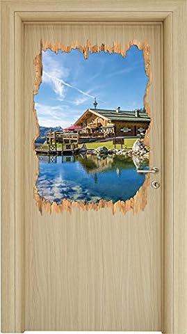 Schönes Holzhaus in den Alpen Holzdurchbruch im 3D-Look , Wand- oder Türaufkleber Format: 92x62cm, Wandsticker, Wandtattoo, Wanddekoration