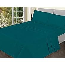 Adams–Sábana bajera ajustable Premium calidad fácil cuidado, resistente y duradero, verde azulado, suelto