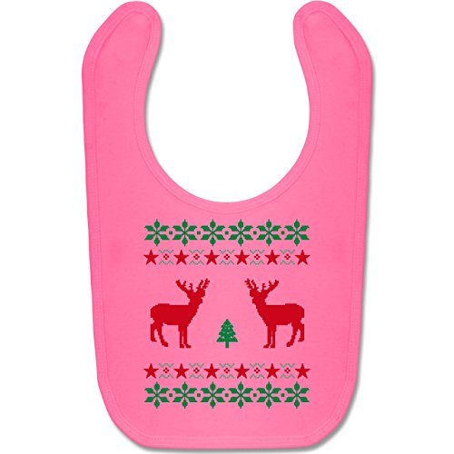 Shirtracer Weihnachten Baby - Norweger Pixel Rentier Weihnachten - Unisize - Pink - BZ12 - Baby Lätzchen Baumwolle