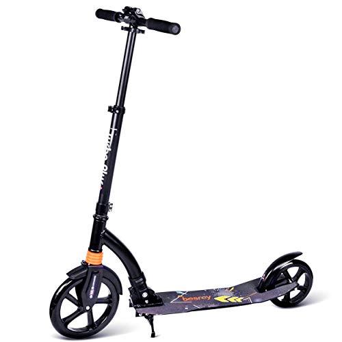 besrey Big Wheel Scooter Tret-Roller City-Scooter 230mm ab 8 Jahre mit XXL Trittbrett und Fußbremse, Vollfederung für Kinder und Erwachsene
