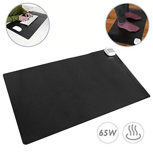 PrimeMatik - Tapis et Surface chauffante Moquette Thermique pour Bureau Sol et Pieds 60 x 36 cm 65W Noir