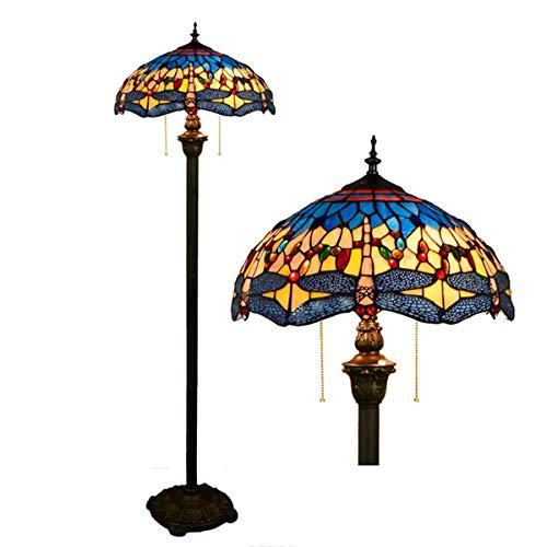 GDLight Dragonfly Stehleuchte Tiffany Style Stained Glass Shade Crystal Bead 2 Licht eading Stehleuchte für Schlafzimmer Wohnzimmer, 63 Zoll hoch -