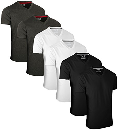 Full Time Sports 6 Pack Dunkelgrau Schwarz T-Shirts mit V-Ausschnitt (2) Medium