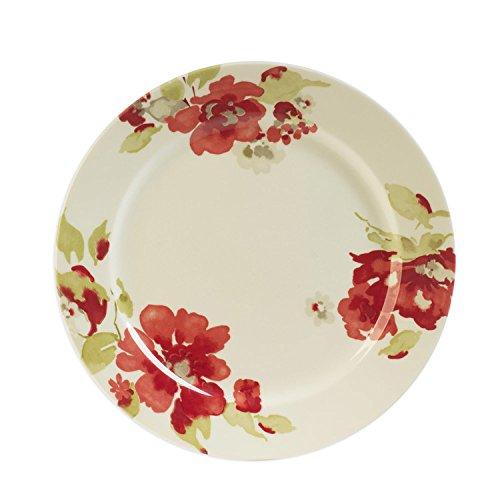 Table Passion - Assiette plate décor fleurs rouges en faience (par6)