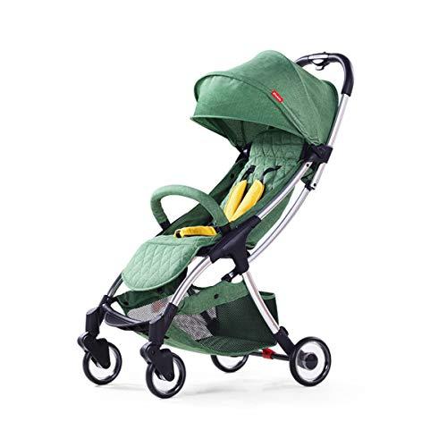 Dapang Convenience Stroller, leichtes Umbrella Stroller mit Oversized Canopy, Extra-Large Storage und Compact Fold, Pushchair von Geburt bis 25 kg, Ionenasche,Green Combo Green Compact