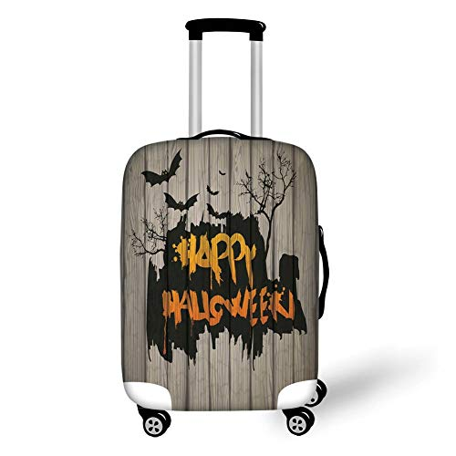 Suitcase Protector,Halloween Decorations,Happy Graffiti Style Lettering on Rustic Wooden Fence Scary Evil Artwork,Multi,for Travel,L ()