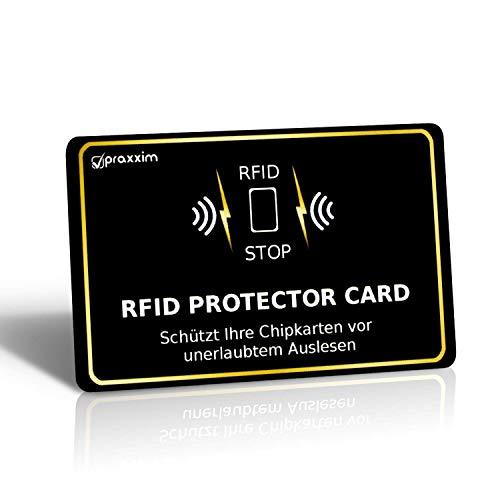 praxxim RFID Blocker Karte in schwarz/Gold - Effektiver Schutz gegen das Auslesen von Kreditkarten - Eine Schutzkarte sichert die gesamte Geldbörse - Ideale Alternative zu NFC und RFID Schutzhüllen -