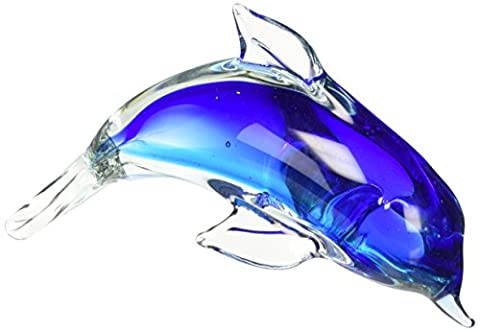 StealStreet SS-UG-UGW-8867 Blue Clear Teal Crystal Glass Dolphin Figurine Statue Decoration