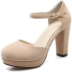 Trend Asakuchi Schuhe/Frauen Highheels/Runde Kopf Schnalle klobige Heels Schuhe/Modeschuhe-A Fußlänge=23.8CM(9.4Inch)