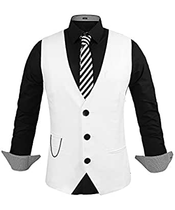 hasuit homme gilet costume veste slim fit sans manches business mariage blanc s. Black Bedroom Furniture Sets. Home Design Ideas