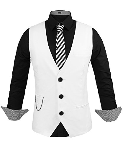 Hasuit Herren Anzugweste Business Basic Mode Einreiher Drei Knöpfe Weste in europäischen Größen, weiß, Size S (Drei-knopf-weste)